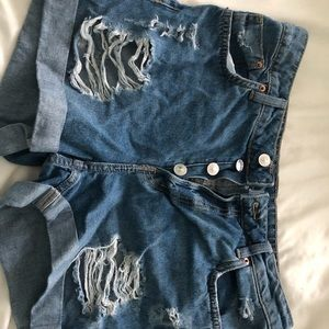 H&M high waisted distressed shorts